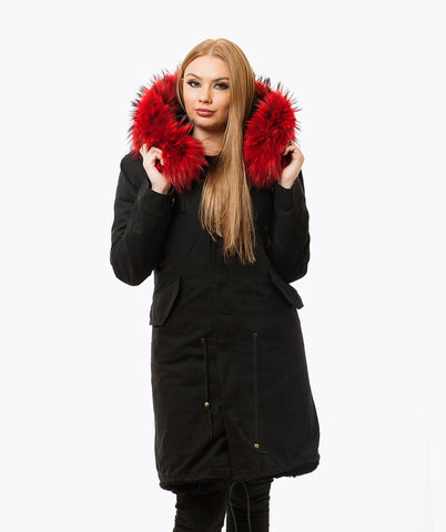 BLACK LUXY FUR PARKA - 3/4 RED