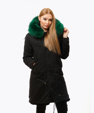 BLACK LUXY FUR PARKA - 3/4 EMERALD
