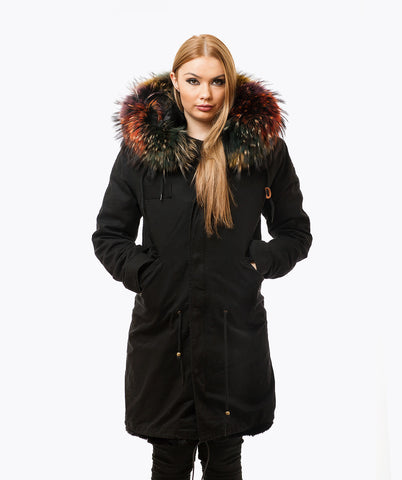BLACK LUXY FUR PARKA - 3/4 MULTI