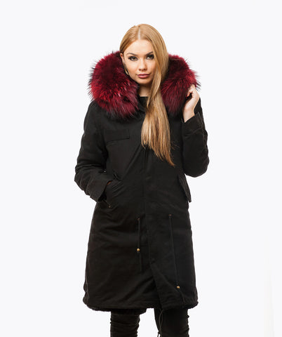 BLACK LUXY FUR PARKA - 3/4 WINE