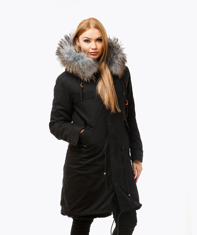 BLACK LUXY FUR PARKA - 3/4 DOVE GREY