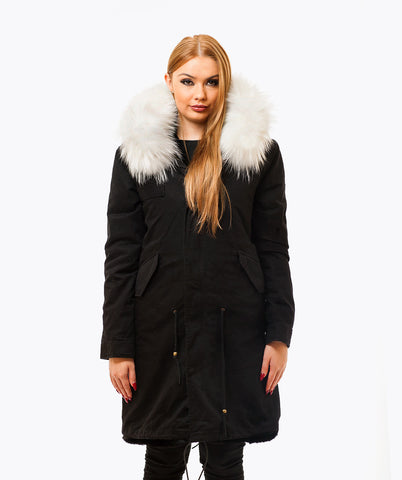 BLACK LUXY FUR PARKA - 3/4 WHITE