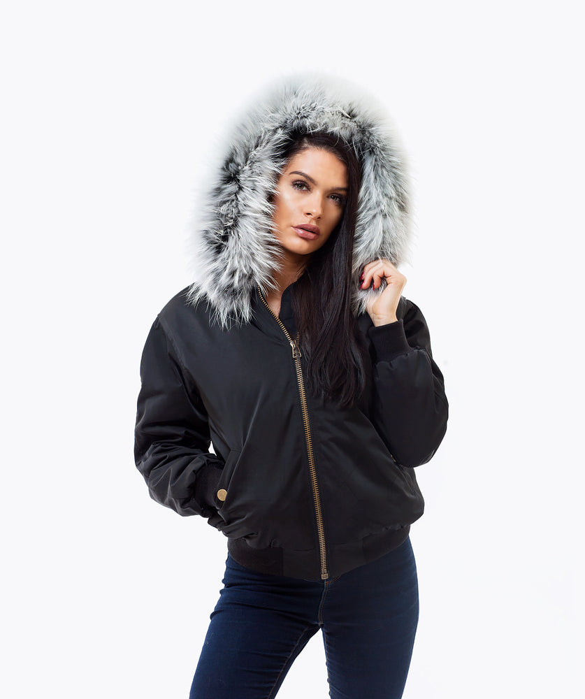 BLACK LUXY FUR BOMBER  - ICE WHITE