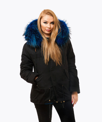 BLACK LUXY FUR PARKA - BLUE