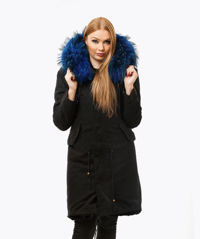 BLACK LUXY FUR PARKA - 3/4 BLUE
