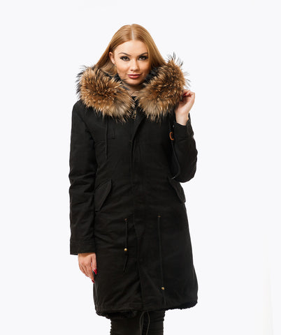 BLACK LUXY FUR PARKA - 3/4 NATURAL