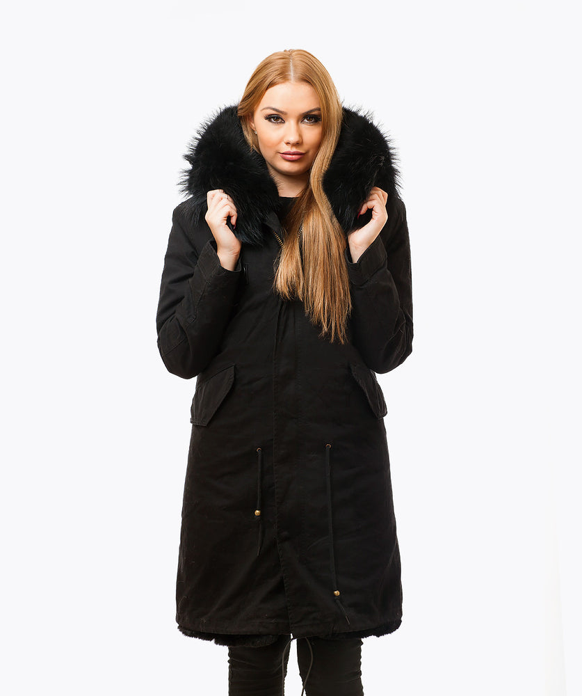 BLACK LUXY FUR PARKA - 3/4 BLACK
