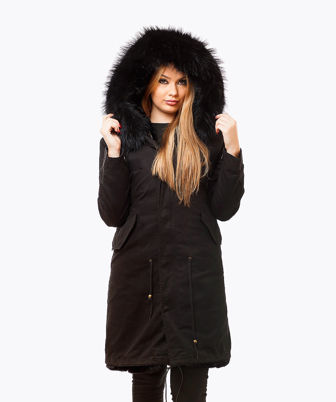 PREMIUM BLACK LUXY FUR PARKA - 3/4 BLACK
