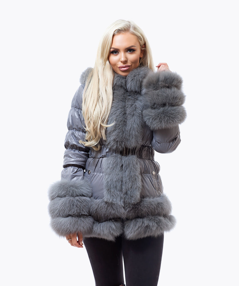 Fox Fur Quilted Down Jacket - Grey