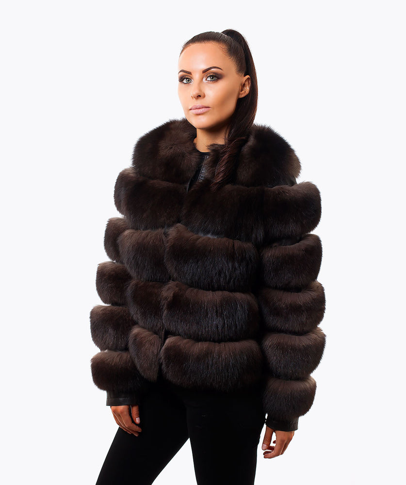 LUXY CROPPED FOX FUR COAT - BROWN