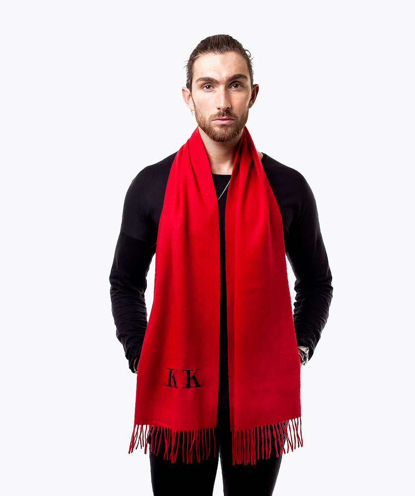 MENS PERSONALISED MONOGRAMMED CASHMERE SCARF - RED
