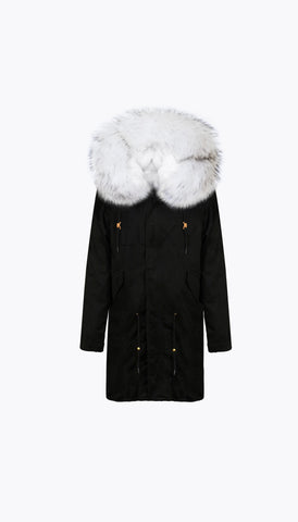 BLACK LUXY FUR PARKA - 3/4 SNOW