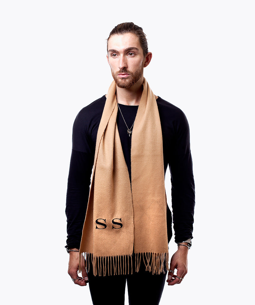 MENS PERSONALISED MONOGRAMMED CASHMERE SCARF - CAMEL