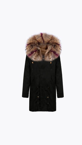 BLACK LUXY FUR PARKA - 3/4 RASPBERRY FLASH
