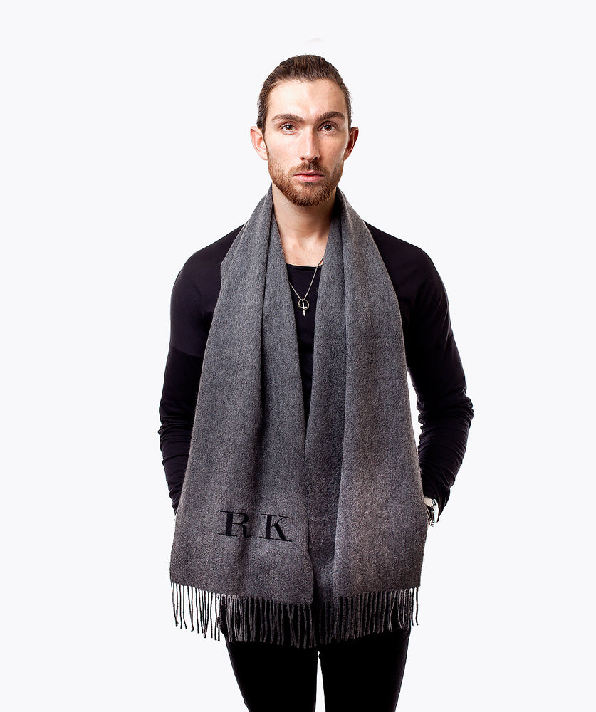 MENS PERSONALISED MONOGRAMMED CASHMERE SCARF - CHARCOAL