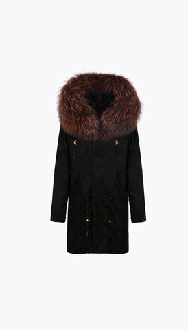 BLACK LUXY FUR PARKA - 3/4 BROWN