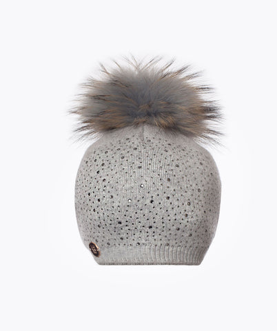 ANNABELLE POM POM HAT - LIGHT GREY
