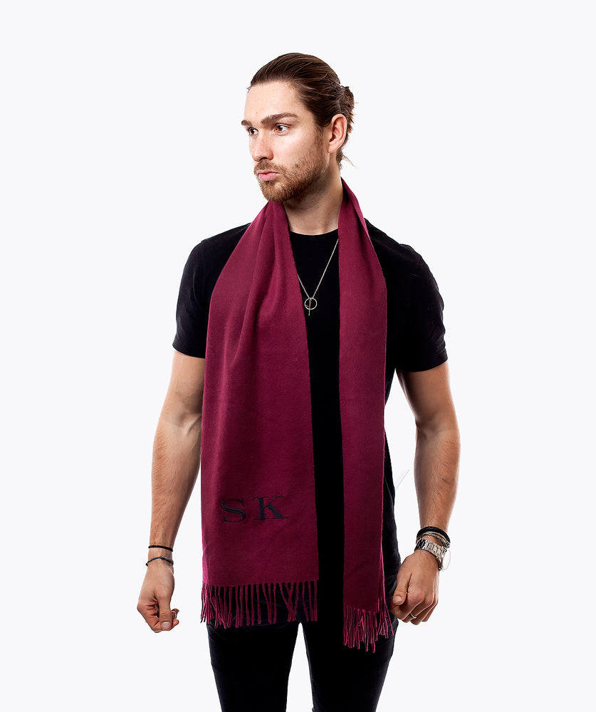PERSONALISED MONOGRAMMED CASHMERE SCARF - BORDEAUX
