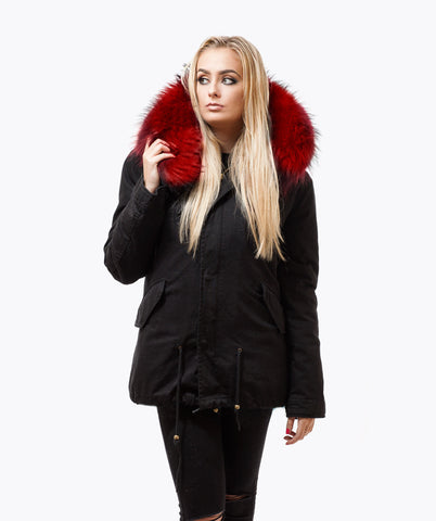 BLACK LUXY FUR PARKA - RED