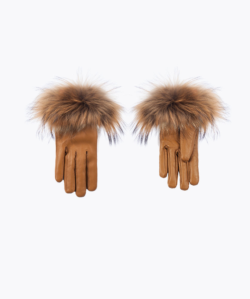 Tan Leather and Fox Fur Gloves