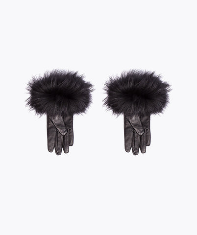 Black Leather and Fox Fur Gloves