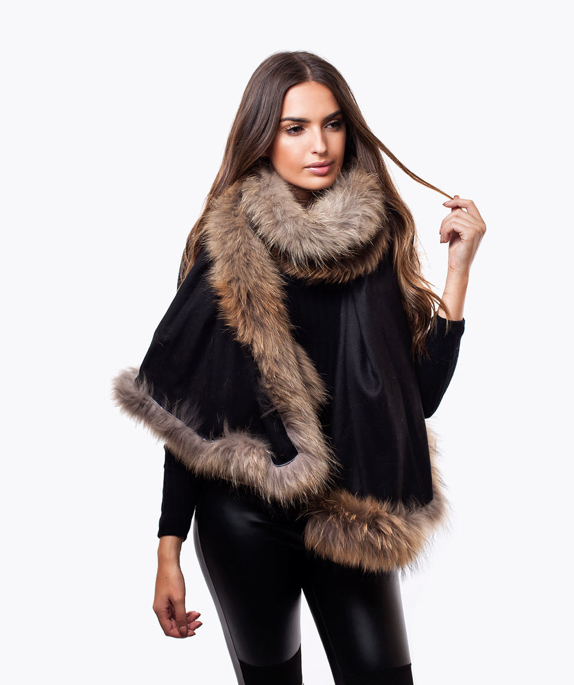 CASHMERE RACCOON FUR TRIMMED SCARF/SHAWL - BLACK