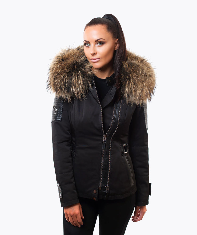 BLACK WEATHERPROOF & LEATHER JACKET - NATURAL