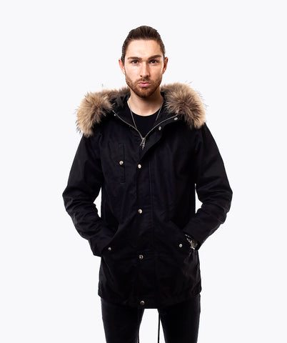 BLACK LIGHTWEIGHT PARKA - NATURAL