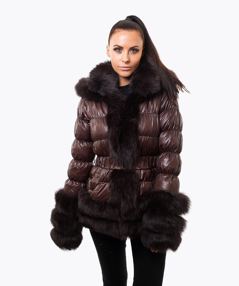 FOX FUR QUILTED DOWN JACKET - CHOCOLATE