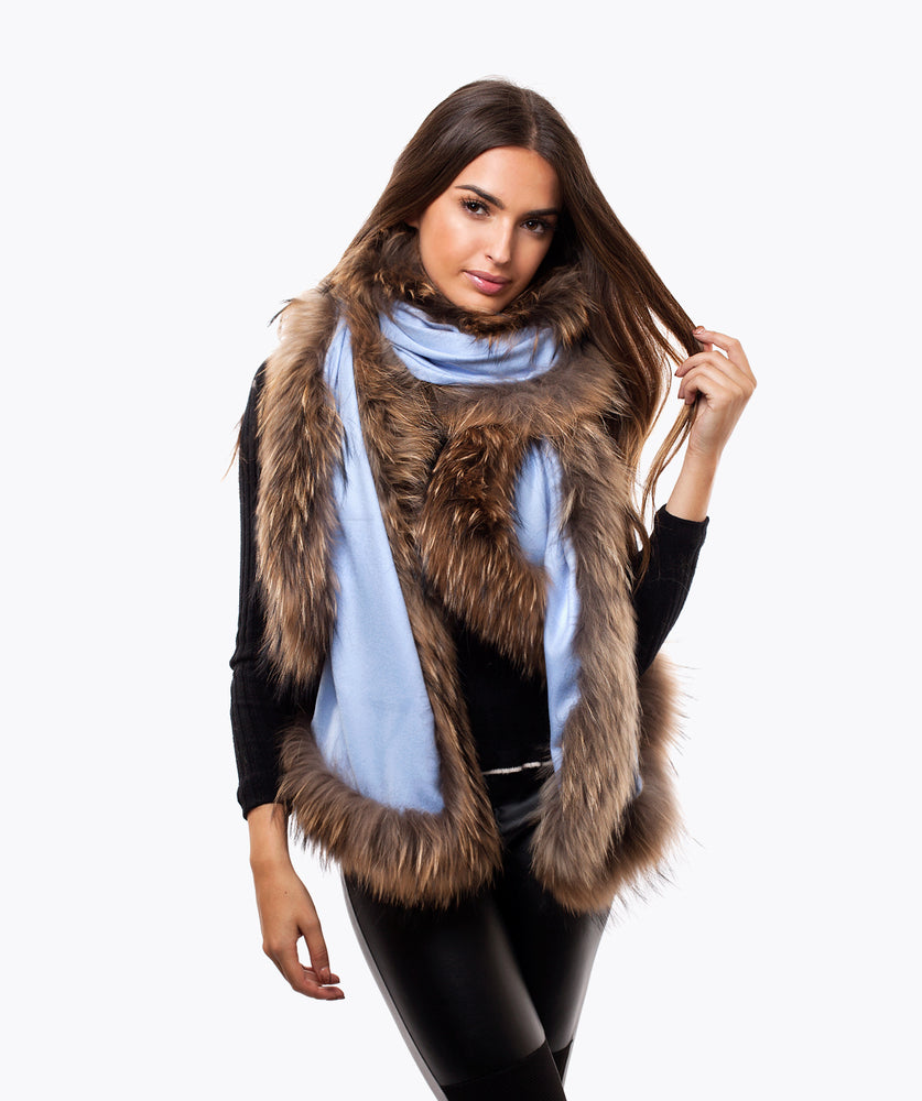 CASHMERE RACCOON FUR TRIMMED SCARF/SHAWL  - LIGHT BLUE