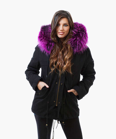 BLACK LUXY FUR PARKA - PURPLE