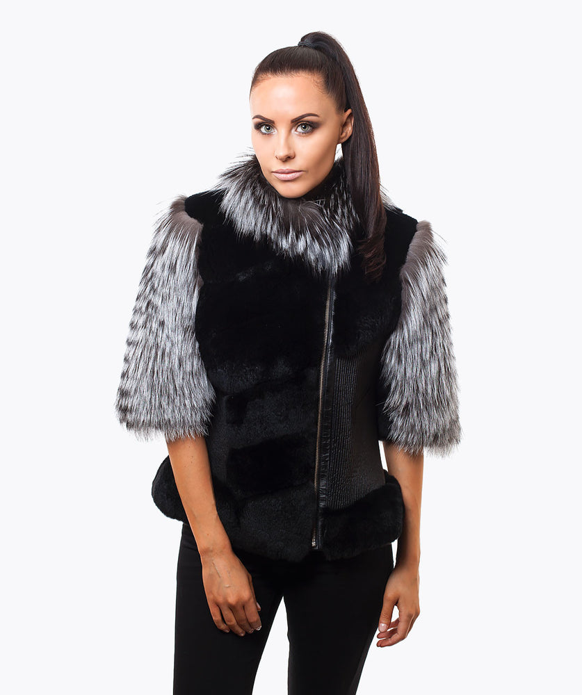 LUXY PLATINUM CROPPED SLEEVED -  SILVER FOX JACKET