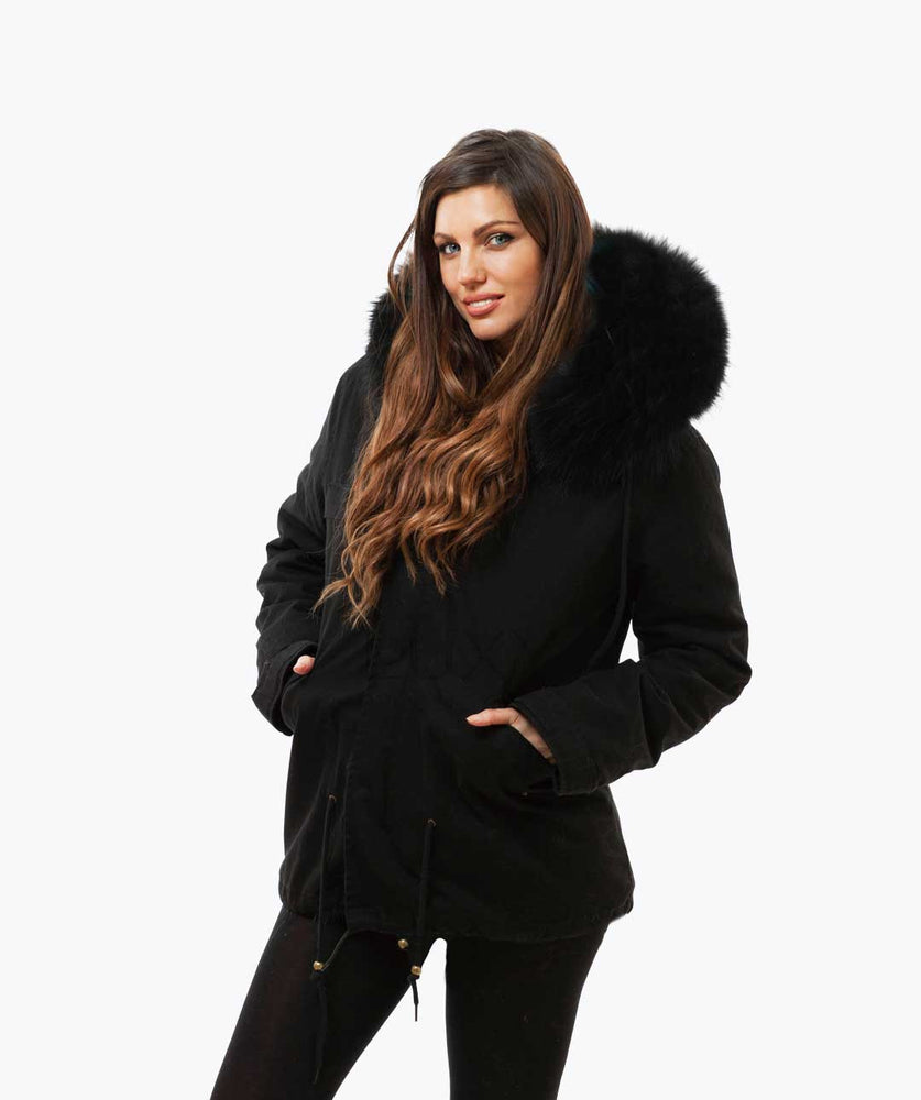 BLACK LUXY FUR PARKA - BLACK