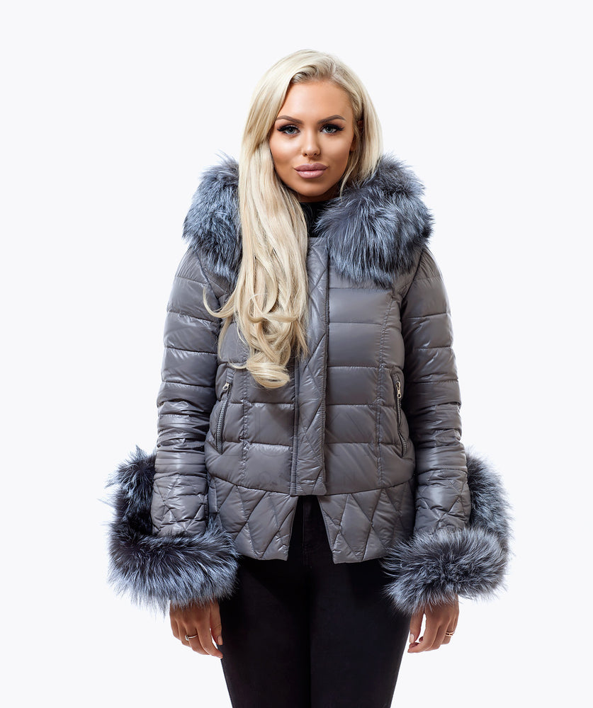 Grey Quilted Down Jacket - Silver Fox