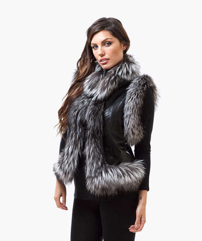 FOX FUR & LEATHER GILET - BLACK & SILVER FOX