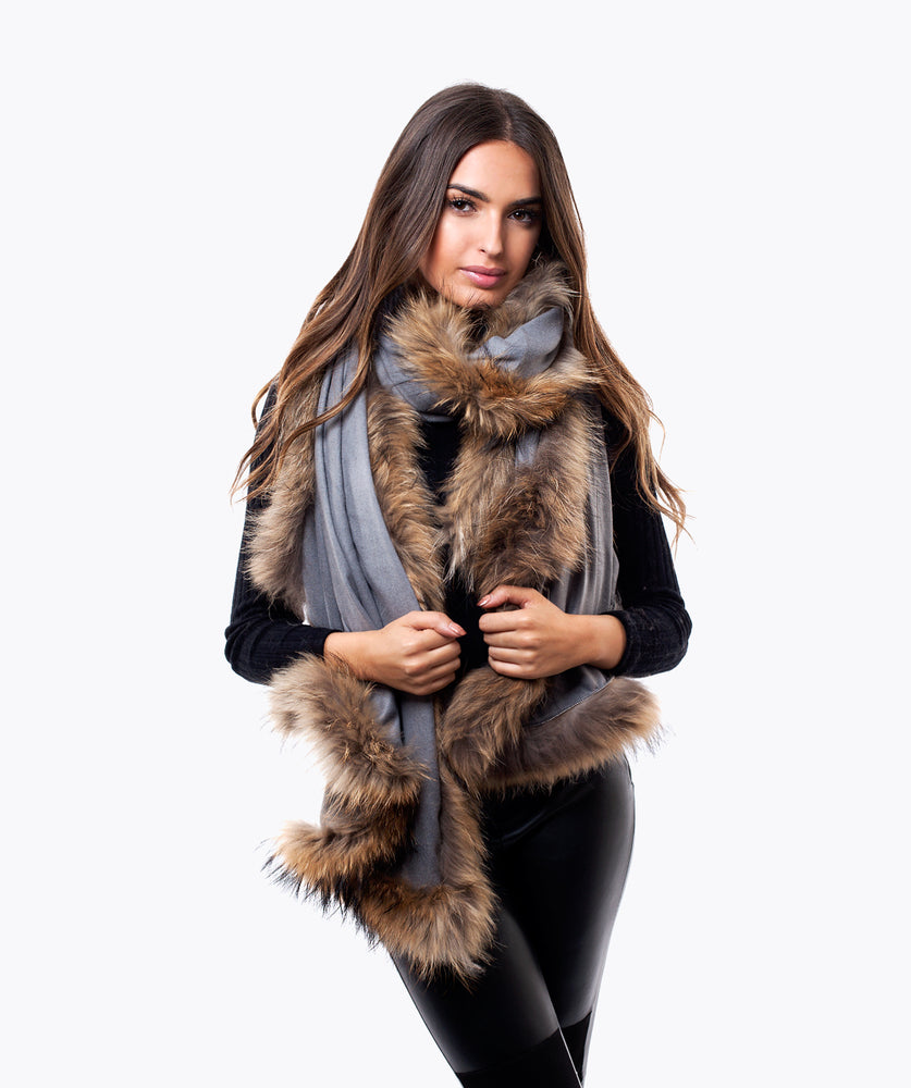 CASHMERE RACCOON FUR TRIMMED SCARF/SHAWL - GREY