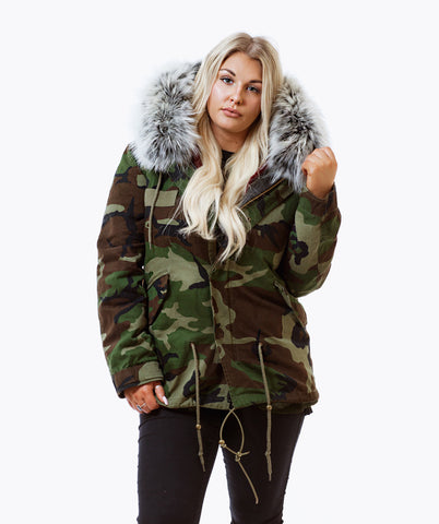 CAMO LUXY FUR PARKA - ICE WHITE
