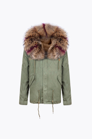 KHAKI LUXY FUR PARKA - RASPBERRY FLASH