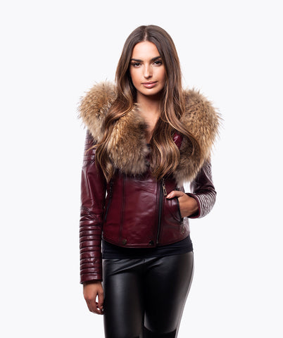 LUXY BIKER - BORDEAUX LEATHER & RACCOON