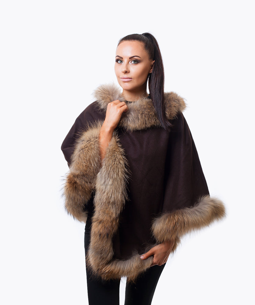 PLATINUM CASHMERE & RACCOON PONCHO - BROWN