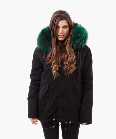 BLACK LUXY FUR PARKA - EMERALD