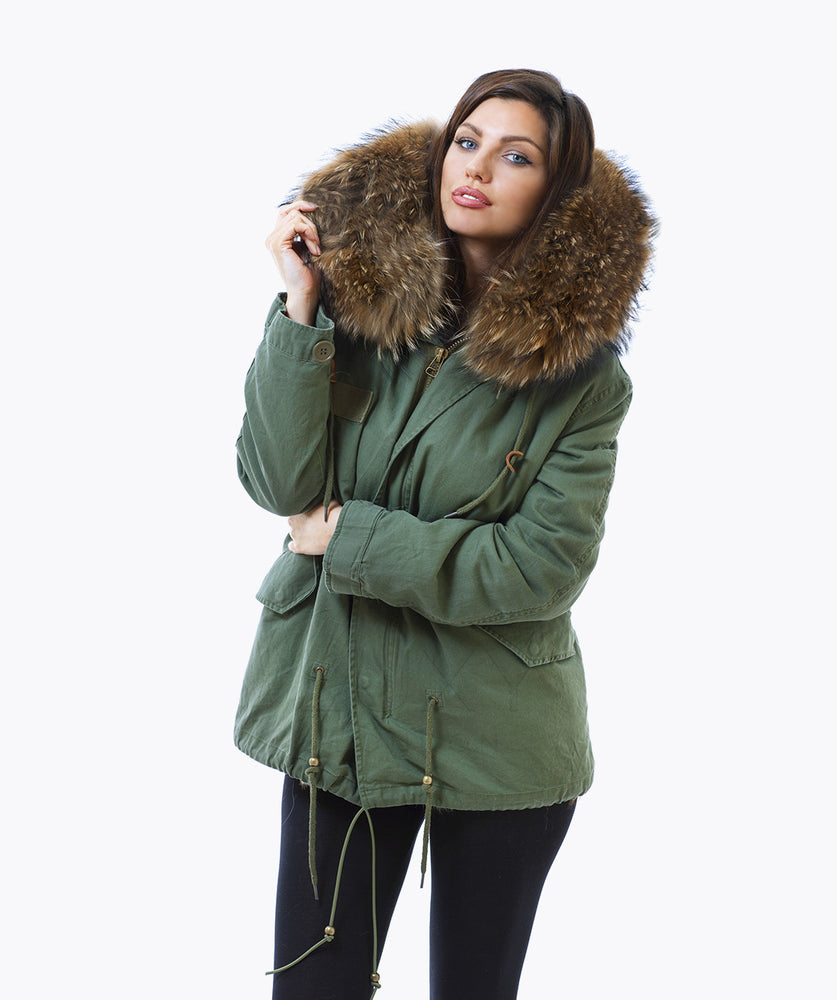 KHAKI LUXY FUR PARKA - NATURAL
