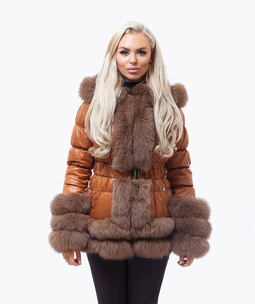 Fox Fur Quilted Down Jacket - Tan