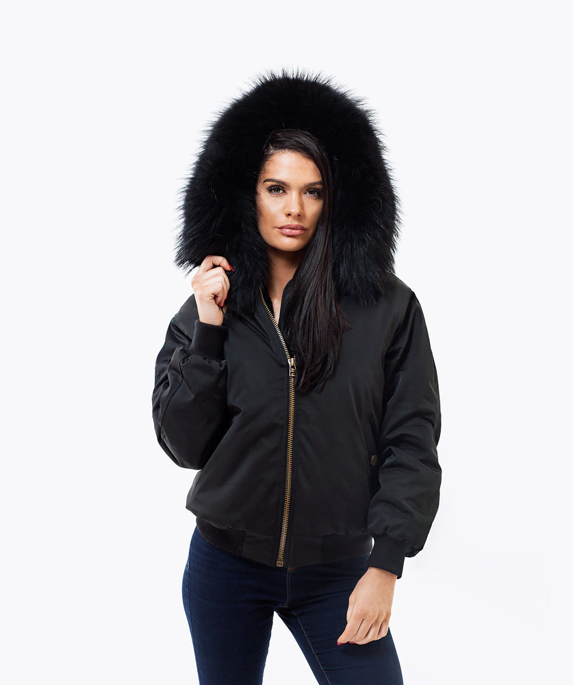 BLACK LUXY FUR BOMBER  - BLACK
