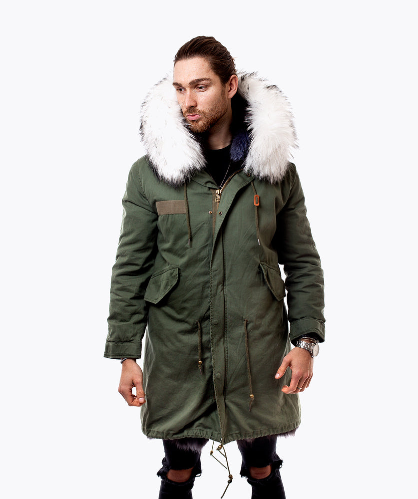 MEN'S KHAKI FUR PARKA - SNOW