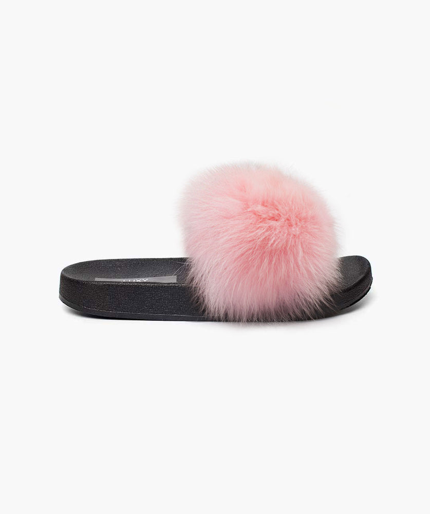 MINIS LUXY FOX FUR SLIDERS - PINK