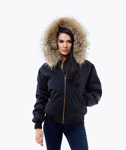 BLACK LUXY FUR BOMBER  - NATURAL