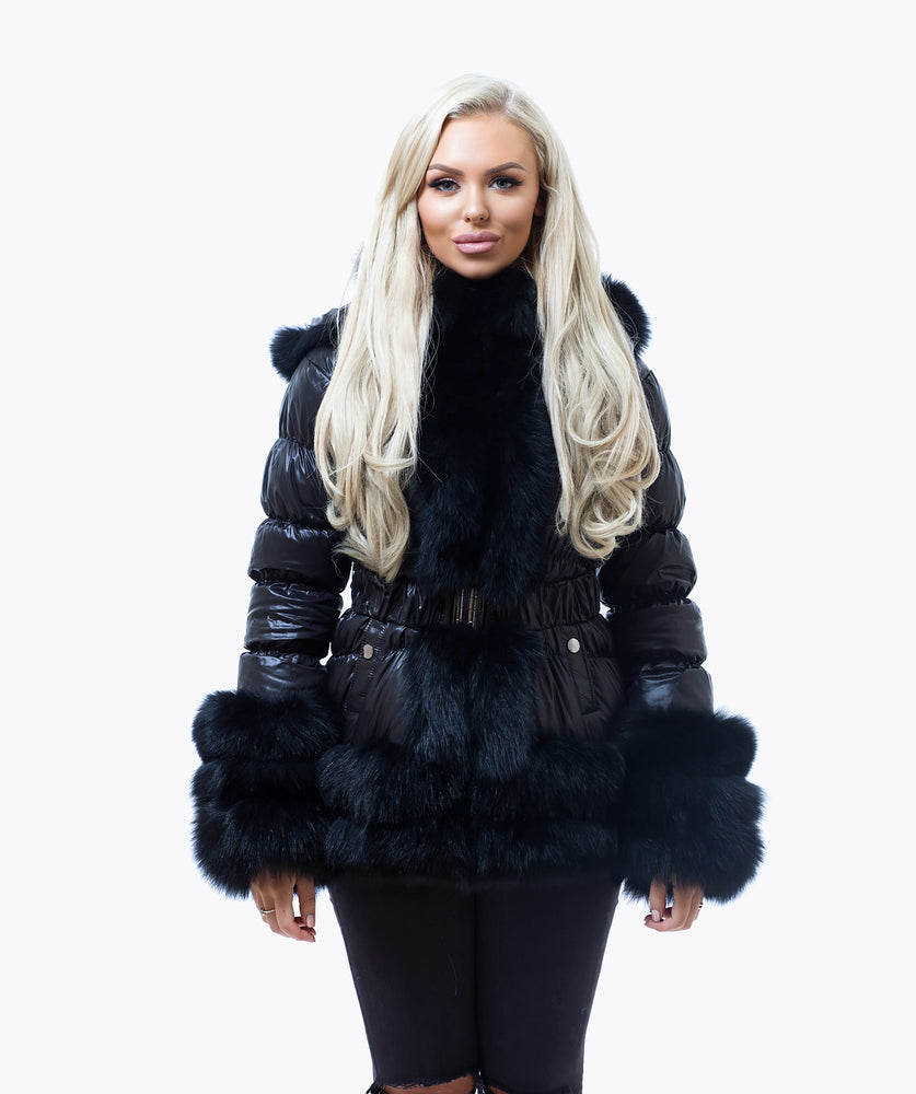 Fox Fur Quilted Down Jacket - Black