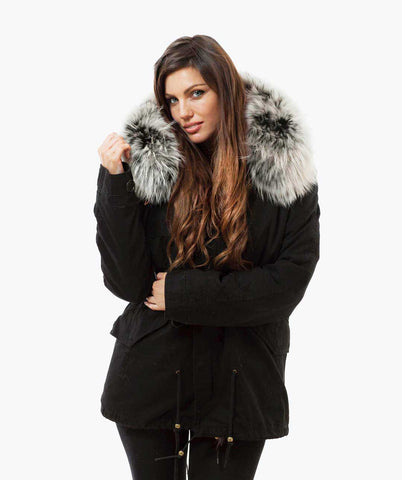 BLACK LUXY FUR PARKA - ICE WHITE
