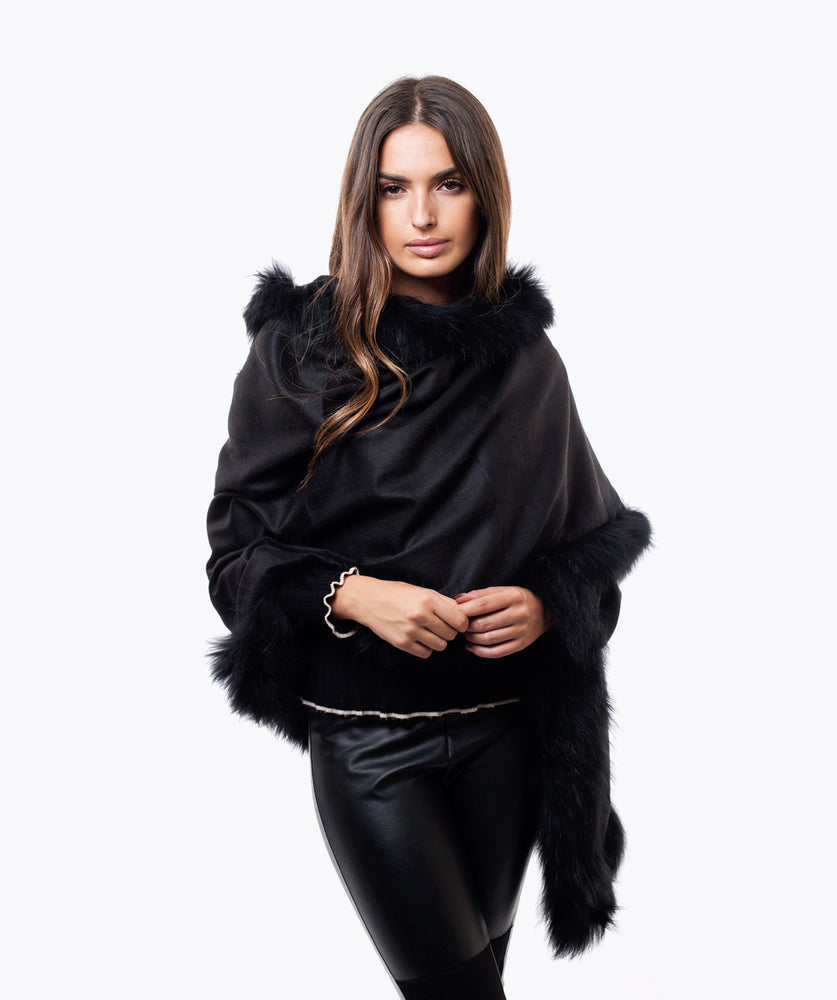 CASHMERE RACCOON FUR TRIMMED SCARF/SHAWL  BLACK